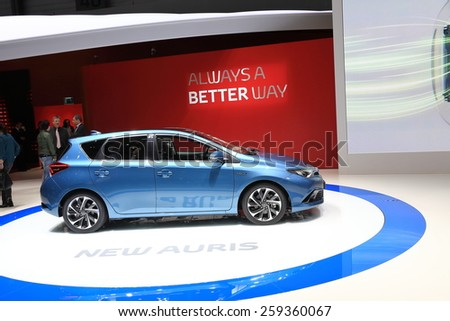 GENEVA, MARCH 3:A Toyota auris hybrid car on display at 85th international Geneva motor Show at Palexpo-Geneva on March 3, 2015 at Geneva, Switzerland.  - stock photo