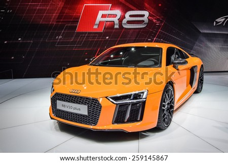 GENEVA - MARCH 3, 2015: Audi R8 sports car presented at the 85th Geneva International Motor Show in Palexpo. Power in this car comes from 5.2-liter V10 with 540 hp. - stock photo