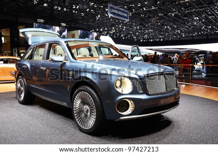 GENEVA - MARCH 12: Bentley EXP-9 world's only W12 SUV on display at 82nd Geneva Motor Show on March 12, 2012 in Geneva, Switzerland. - stock photo