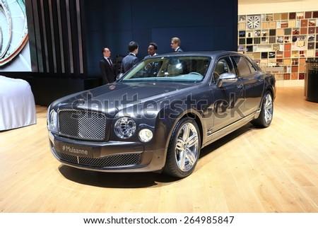 GENEVA, MARCH 3: Bentley new Mulsanne Speed  car on display at 85th international Geneva motor Show at Palexpo-Geneva on March 3, 2015 at Geneva, Switzerland.  - stock photo