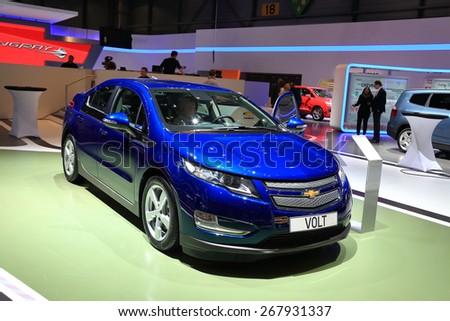 GENEVA, MARCH 3: Chevrolet Volt car on display at 85th international Geneva motor Show at Palexpo-Geneva on March 3, 2015 at Geneva, Switzerland.  - stock photo