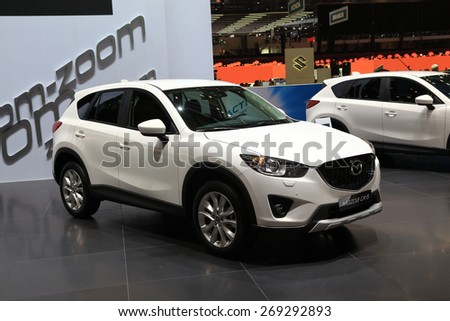 GENEVA, MARCH 3: Mazda CX-5 car on display at 85th international Geneva motor Show at Palexpo-Geneva on March 3, 2015 at Geneva, Switzerland. - stock photo