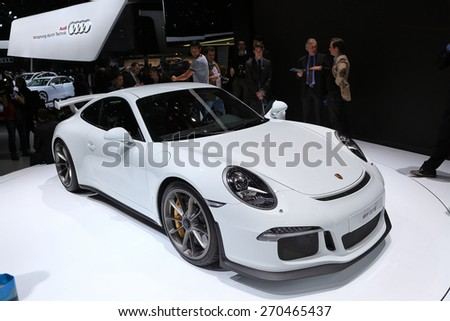 GENEVA, MARCH 3: Porsche 911 gt3 car on display at 85th international Geneva motor Show at Palexpo-Geneva on March 3, 2015 at Geneva, Switzerland. - stock photo