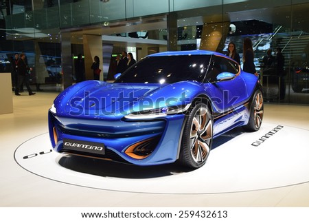 GENEVA - MARCH 3, 2015: Quant Quantino EV presented at the 85th Geneva International Motor Show. The Quantino concept is NanoFlowcell's first low-voltage vehicle. - stock photo