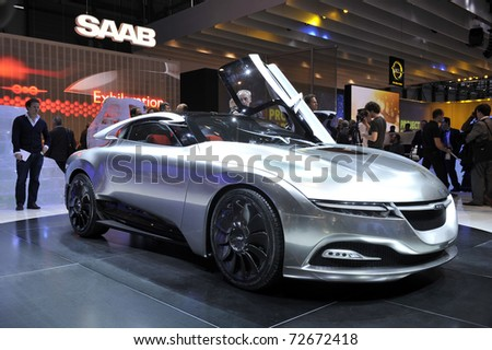 GENEVA - MARCH 1: Saab PhoeniX concept on display at Geneva International Motor Show at Palexpo Geneva Centre, March 1, 2011 in Geneva, Switzerland. - stock photo