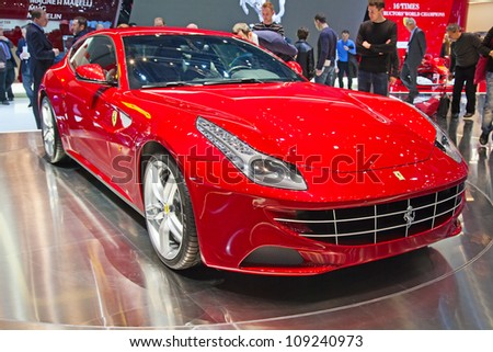 GENEVA - MARCH 8: The Ferrari FF on display at the 81st International Motor Show Palexpo-Geneva on March 8, 2011 in Geneva, Switzerland. - stock photo