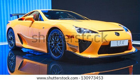 GENEVA - MARCH 8: The Lexus(Toyota) LFA on display at the 81st International Motor Show Palexpo-Geneva on March 8; 2011 in Geneva, Switzerland. - stock photo