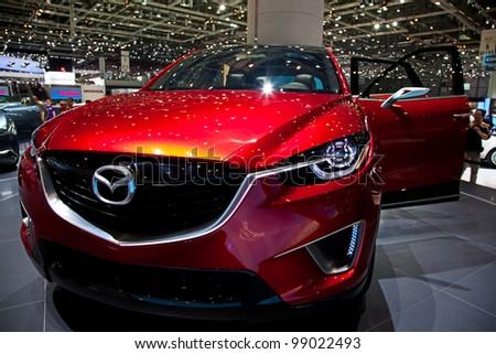 GENEVA - MARCH 8: The Mazda MX on display at the 81st International Motor Show Palexpo-Geneva on March 8; 2011  in Geneva, Switzerland. - stock photo