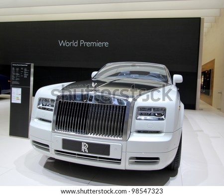 GENEVA - MARCH 16 : the Rolls Royce Phantom serie 2 on display at the 82nd International Motor Show Palexpo - Geneva on March 16; 2012 in Geneva, Switzerland. - stock photo