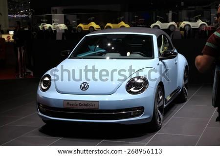 GENEVA, MARCH 3: Volkswagen VW Beetle cabriolet car on display at 85th international Geneva motor Show at Palexpo-Geneva on March 3, 2015 at Geneva, Switzerland.  - stock photo