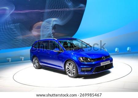 GENEVA, MARCH 3: Volkswagen VW concept R-Line car on display at 85th international Geneva motor Show at Palexpo-Geneva on March 3, 2015 at Geneva, Switzerland. - stock photo