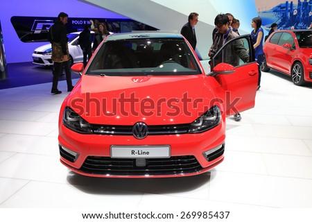 GENEVA, MARCH 3: Volkswagen VW R-line car on display at 85th international Geneva motor Show at Palexpo-Geneva on March 3, 2015 at Geneva, Switzerland. - stock photo