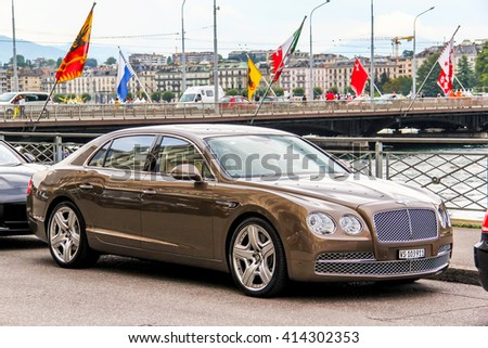 GENEVA, SWITZERLAND - AUGUST 4, 2014: Motor car Bentley Continental Flying Spur in the city street. - stock photo