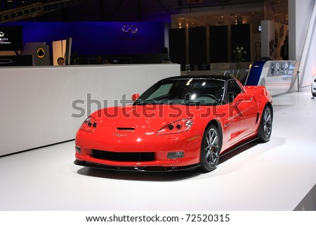 GENEVA, SWITZERLAND - MARCH 3 : A Chevrolet Corvette car on display at 81th International Motor Show Palexpo-Geneva on March 3, 2010 in Geneva, Switzerland. - stock photo
