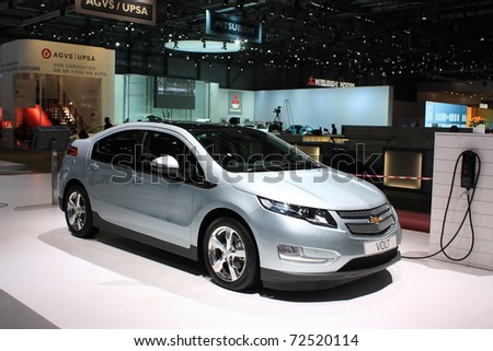 GENEVA, SWITZERLAND - MARCH 3 : A  Chevrolet VOLT car on display at 81th International Motor Show Palexpo-Geneva on March 3, 2010 in Geneva, Switzerland. - stock photo