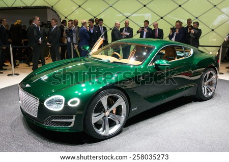 GENEVA, SWITZERLAND - MARCH 3, 2015: Bentley EXP 10 Speed 6 unveiled at the 85th International Geneva Motor Show in Palexpo. - stock photo