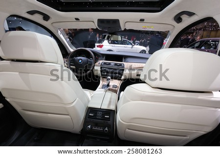 GENEVA, SWITZERLAND - MARCH 4, 2015: BMW 530d xDrive Touring interior view at the 85th International Geneva Motor Show in Palexpo. - stock photo