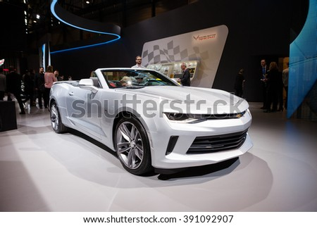 Geneva, Switzerland - March 1, 2016: Chevrolet Camaro Convertible, front-side view presented on the 86th Geneva Motor Show in the PalExpo - stock photo