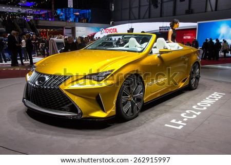 GENEVA, SWITZERLAND - MARCH 3, 2015: First European appearance of the Lexus LF-C2 at the 85th International Geneva Motor Show in Palexpo. - stock photo