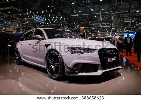GENEVA, SWITZERLAND - MARCH 1: Geneva Motor Show on March 1, 2016 in Geneva, ABT Sportsline Audi RS6, side-front view - stock photo