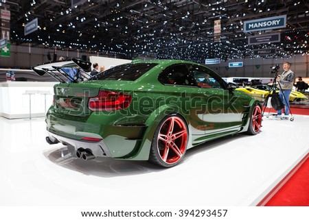 GENEVA, SWITZERLAND - MARCH 1: Geneva Motor Show on March 1, 2016 in Geneva, AC Schnitzer ACL2, rear-side view - stock photo