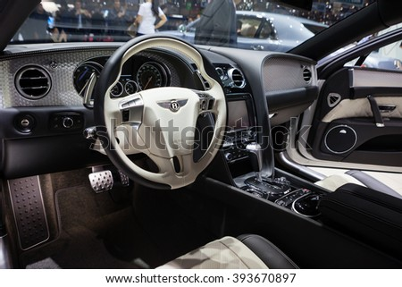 GENEVA, SWITZERLAND - MARCH 1: Geneva Motor Show on March 1, 2016 in Geneva, Bentley Mulsanne EWB, driver interior view - stock photo