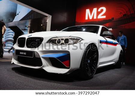 GENEVA, SWITZERLAND - MARCH 1: Geneva Motor Show on March 1, 2016 in Geneva, BMW M2, front-side view - stock photo