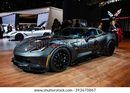 GENEVA, SWITZERLAND - MARCH 1: Geneva Motor Show on March 1, 2016 in Geneva, Chevrolet Corvette Grand Sport, front-side view - stock photo