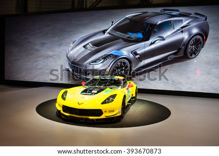 GENEVA, SWITZERLAND - MARCH 1: Geneva Motor Show on March 1, 2016 in Geneva, Chevrolet Corvette Z06, front-side view - stock photo