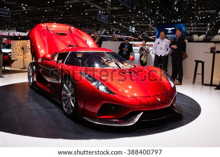 GENEVA, SWITZERLAND - MARCH 1: Geneva Motor Show on March 1, 2016 in Geneva, Koenigsegg Resera, front-side view - stock photo