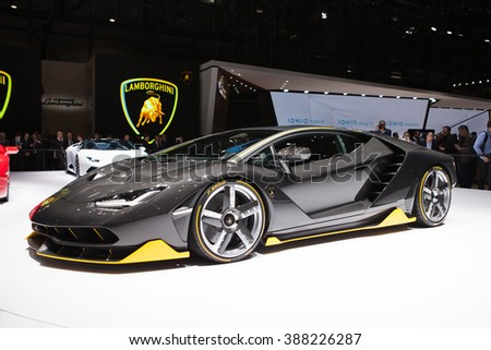 GENEVA, SWITZERLAND - MARCH 1: Geneva Motor Show on March 1, 2016 in Geneva, Lamborghini Centenario, front view - stock photo