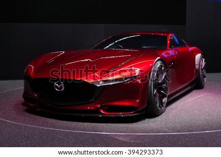 GENEVA, SWITZERLAND - MARCH 1: Geneva Motor Show on March 1, 2016 in Geneva, Mazda RX-Vison Concept, front-side view - stock photo