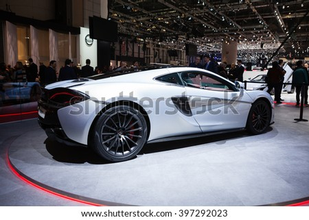 GENEVA, SWITZERLAND - MARCH 1: Geneva Motor Show on March 1, 2016 in Geneva, McLaren 570GT, front-side view - stock photo