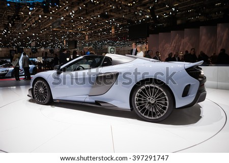 GENEVA, SWITZERLAND - MARCH 1: Geneva Motor Show on March 1, 2016 in Geneva, McLaren 675LT, side view - stock photo
