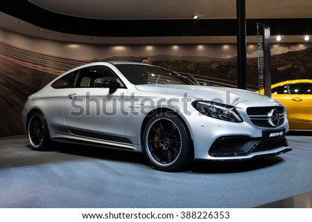 GENEVA, SWITZERLAND - MARCH 1: Geneva Motor Show on March 1, 2016 in Geneva, Mercedes-AMG C 63 S Coupe, front view - stock photo