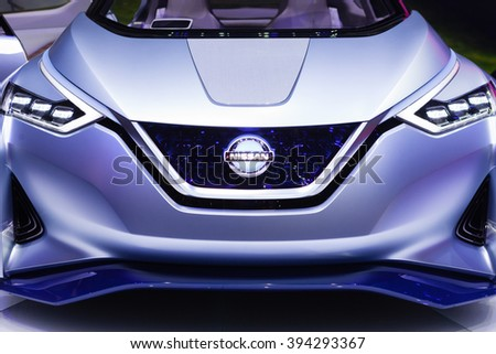 GENEVA, SWITZERLAND - MARCH 1: Geneva Motor Show on March 1, 2016 in Geneva, Nissan IDS Concept, front view - stock photo
