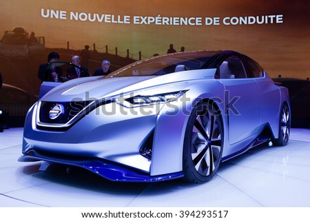 GENEVA, SWITZERLAND - MARCH 1: Geneva Motor Show on March 1, 2016 in Geneva, Nissan IDS Concept, front-side view - stock photo