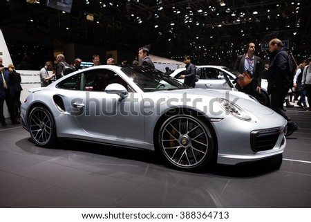 GENEVA, SWITZERLAND - MARCH 1: Geneva Motor Show on March 1, 2016 in Geneva, Porsche 911 Turbo S, front-side view - stock photo