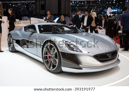 GENEVA, SWITZERLAND - MARCH 1: Geneva Motor Show on March 1, 2016 in Geneva, Rimac Concept One, front-side view - stock photo
