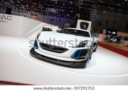 GENEVA, SWITZERLAND - MARCH 1: Geneva Motor Show on March 1, 2016 in Geneva, Rimac Concept S, front-side view - stock photo