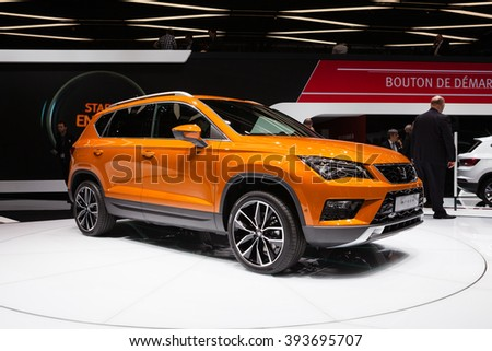 GENEVA, SWITZERLAND - MARCH 1: Geneva Motor Show on March 1, 2016 in Geneva, Seat Ateca, front-side view - stock photo