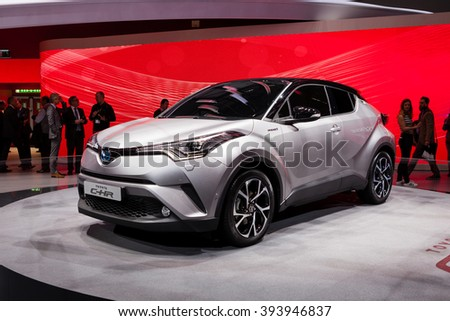 GENEVA, SWITZERLAND - MARCH 1: Geneva Motor Show on March 1, 2016 in Geneva, Toyota CH-R, front-side view - stock photo
