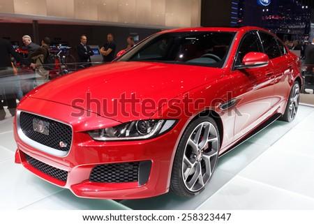 GENEVA, SWITZERLAND - MARCH 3, 2015: Jaguar XE presented at the 85th International Geneva Motor Show in Palexpo. - stock photo