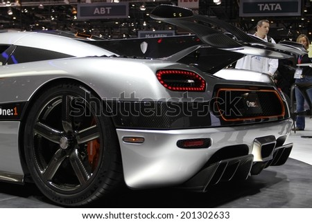 GENEVA, SWITZERLAND - MARCH 4, 2014: 2014 Koenigsegg One-1 presented at the 84th International Geneva Motor Show on March 4, 2014 in Palexpo, Geneva, Switzerland - stock photo