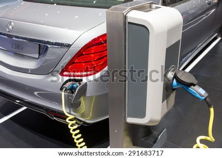 GENEVA, SWITZERLAND - MARCH 3, 2015: Mercedes-Benz S500 Plug-In Hybrid at the 85th International Geneva Motor Show in Palexpo, Geneva. - stock photo