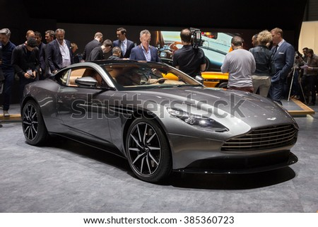 GENEVA, SWITZERLAND - MARCH 1, 2016: New Aston Martin DB11 presented at the 86th International Geneva Motor Show in Palexpo, Geneva. - stock photo