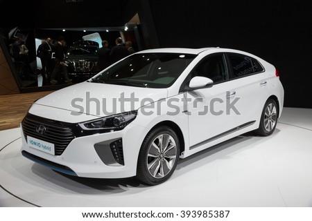 GENEVA, SWITZERLAND - MARCH 2, 2016: New 2017 Hyundai IONIQ presented at the 86th International Geneva Motor Show in Palexpo, Geneva. - stock photo