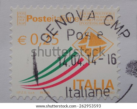 GENOA, ITALY - CIRCA APRIL 2014: Italian stamp from Italy with postage meter from Genova (Genoa) - stock photo