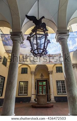 GENOA, ITALY - JUNE 2, 2015: Interior of Palazzo Gio Battista Spinola in Genoa, Italy. Palace was built at 1563 by architect  Bernardino Cantone. - stock photo