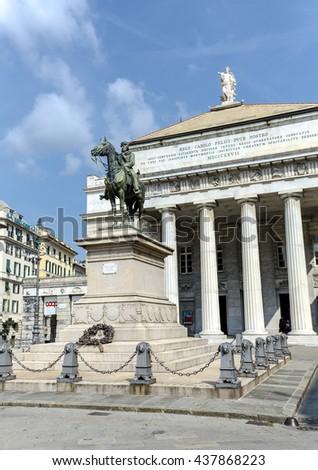 Genova, Italy - September 27, 2015: Statue of Giuseppe Garibaldi - italian General and politician on pedestal in front of opera house (Teatro Carlo Felice) on Piazza De Ferrari in Genoa, Italy - stock photo